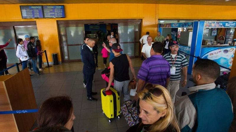 Passengers at José Martí International Airport in Havana on February 2016.