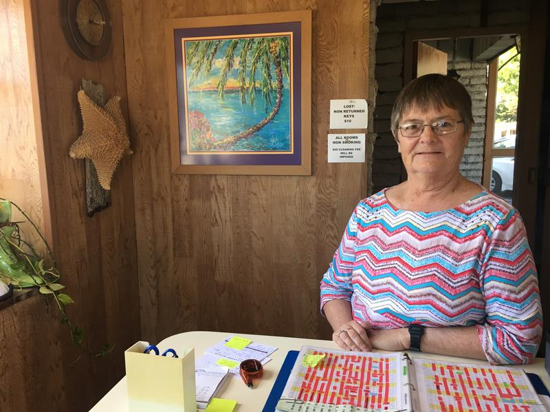 Deb Gillis at the Key Lantern motel, one of three motels she owns and runs in Islamorada. She also serves on the village council.