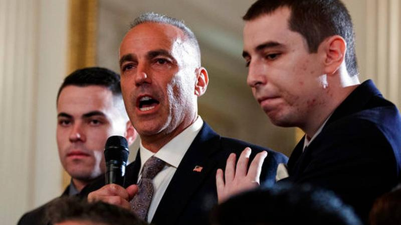 Andrew Pollack, father of slain Marjory Stoneman Douglas High School student Meadow Jade Pollack, joined by his sons, speaks during a listening session with President Donald Trump on Feb, 21, 2018.