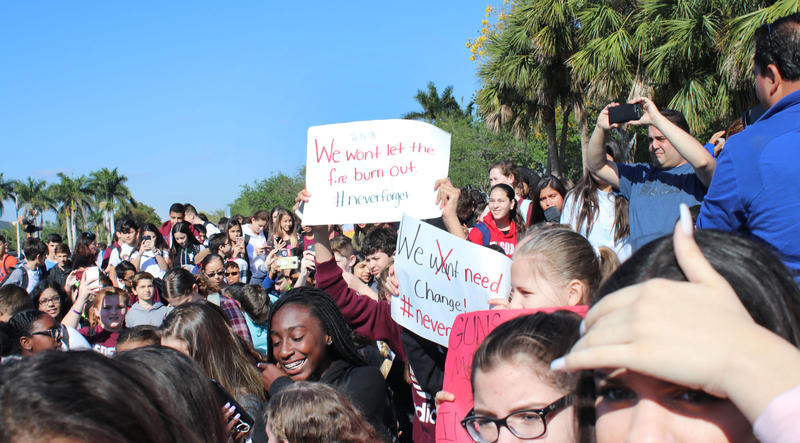Students from West Glades Middle School walked next door to support their peers from Marjory Stoneman Douglas High during the protest against gun violence on March 14.