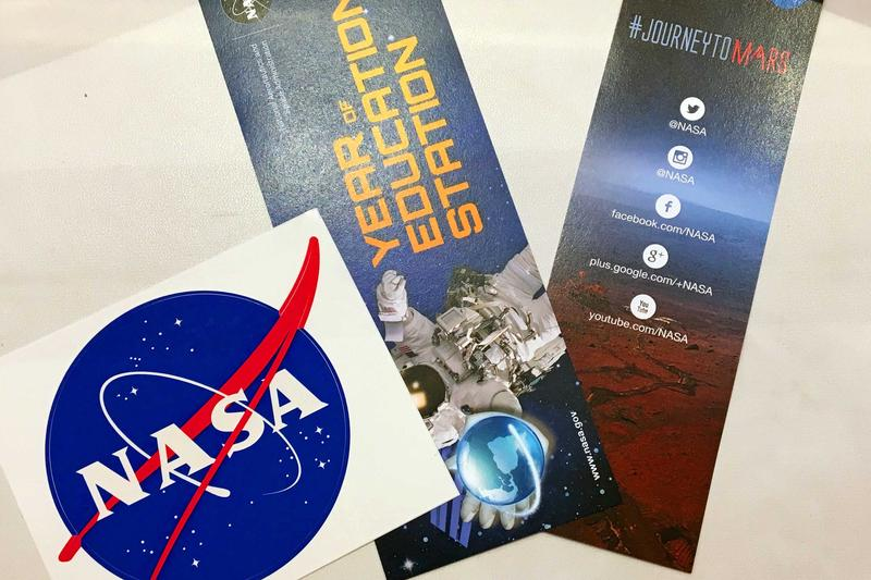 Students got to take home NASA stickers and bookmarks.