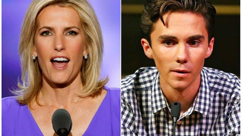 Fox News personality Laura Ingraham (left) and MSD student David Hogg (right).