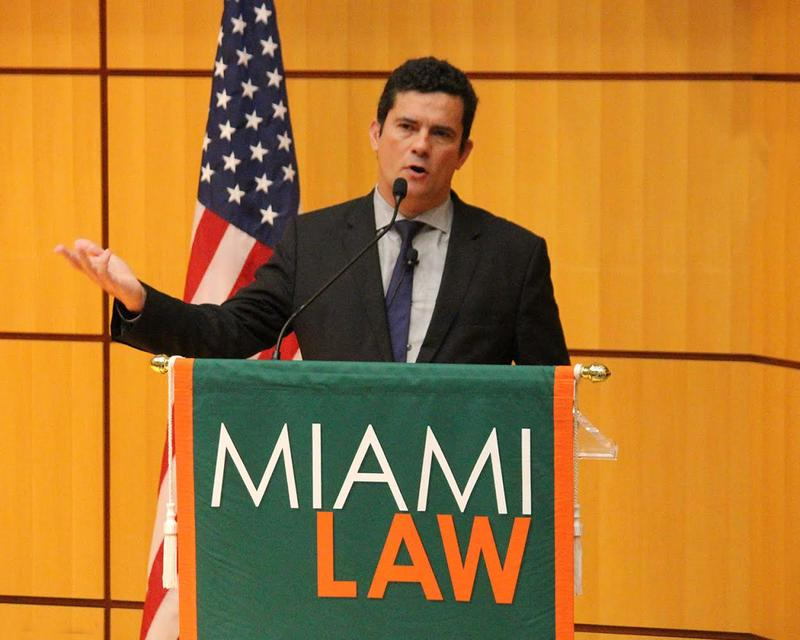 Brazilian federal judge and anti-corruption crusader Sergio Moro speaking at the University of Miami on Thursday.