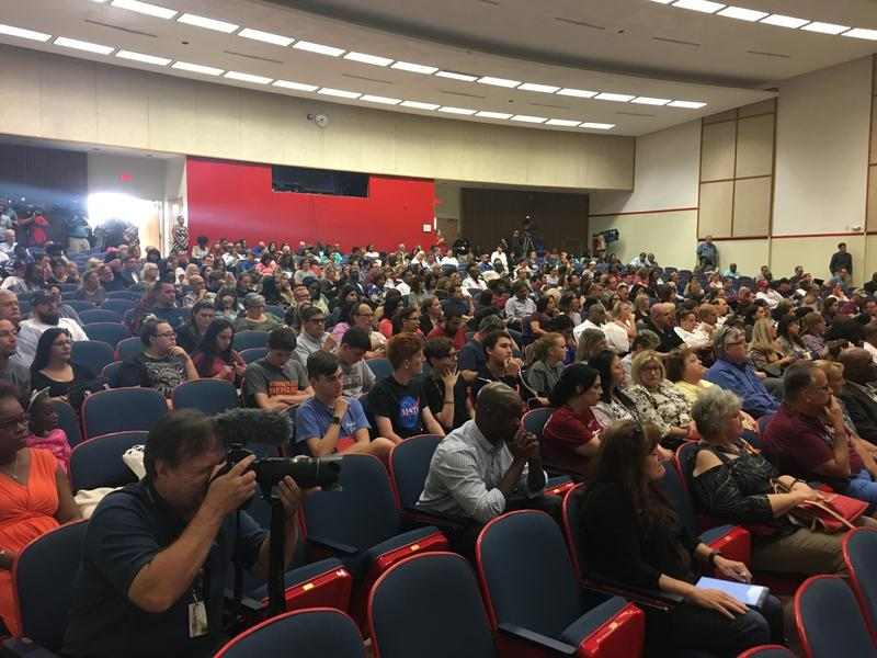 Plantation High School's auditorium was packed for a public forum on safety held Wednesday night, more than two months after the shooting at Marjory Stoneman Douglas.