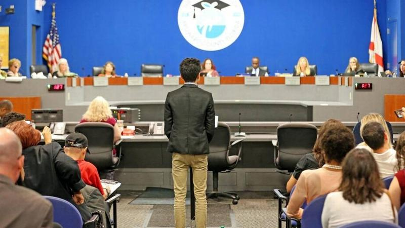Kenneth Preston presents a report to the Broward School Board related to the Marjory Stoneman Douglas High School shooting, April 10, 2018.