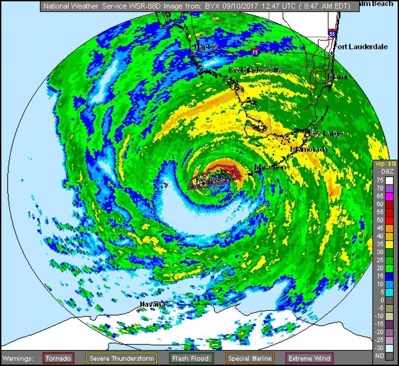 Hurricane Irma crossed the Lower Keys as a Category 4 hurricane on Sept. 10, 2017.