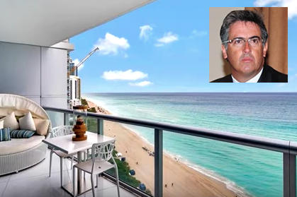 An oceanfront view at the luxury Jade Beach building in Sunny Isles Beach, the complex where alleged Peruvian bribery figure Gustavo Salazar (inset) lives in a $1.5 million condominium.
