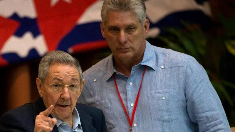 Cuba's President Raúl Castro, left, gestures as he stand with First Vice President Miguel Díaz-Canel during the 7th Cuban Communist Party Congress in Havana on April 16, 2016. Díaz-Canel is expected to succeed Castro as president.