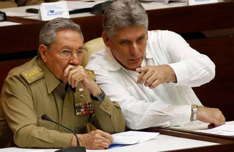 Cuba's likely next president, Miguel Diaz-Canel (right) with current President Raul Castro in 2013.