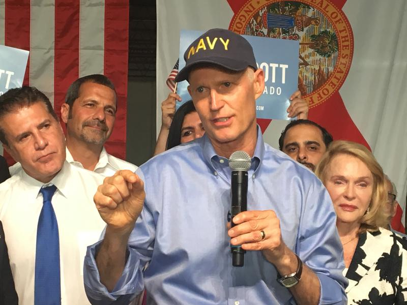 "Gov. Rick Scott reminded the audience of his main platform: ""Jobs, jobs, jobs."""