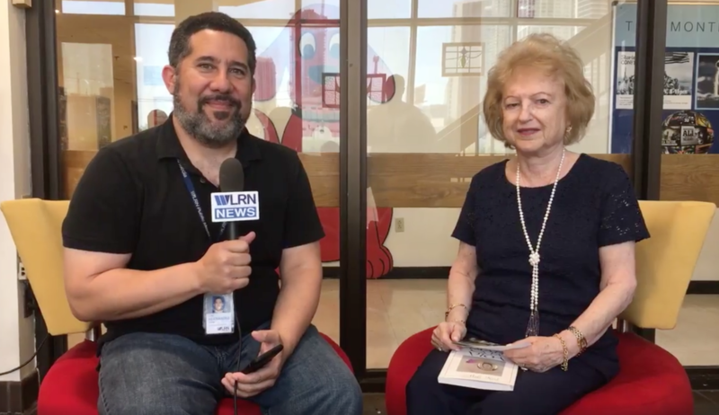 WLRN's Luis Hernandez and Holocaust survivor Anita Karl prepare to do Facebook Live interview.