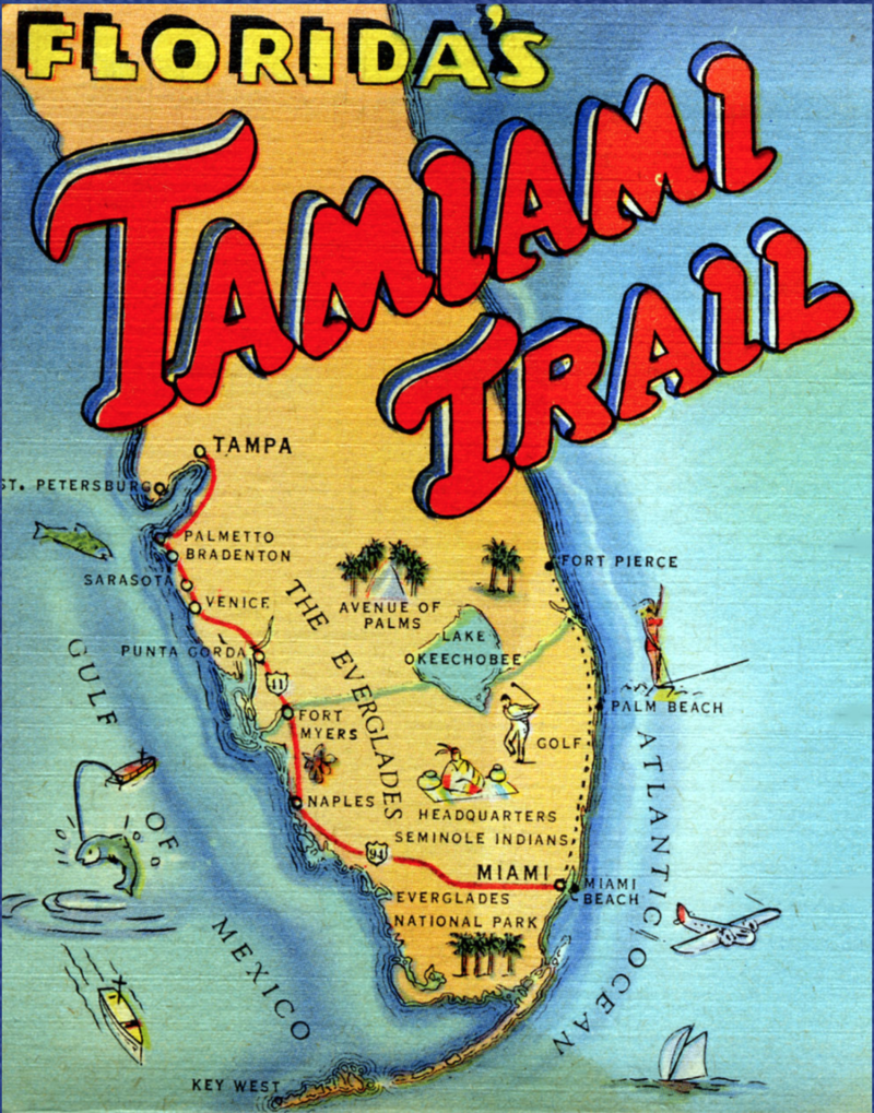 Poster of the exhibit 'Trailblazers' in Collier Museum, that encaptures the history of the Tamiami Trail, a road that connects Miami to Naples.