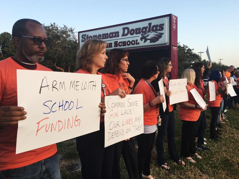 Marjory Stoneman Douglas High teachers protested against gun violence before school started on April 20, 2018.