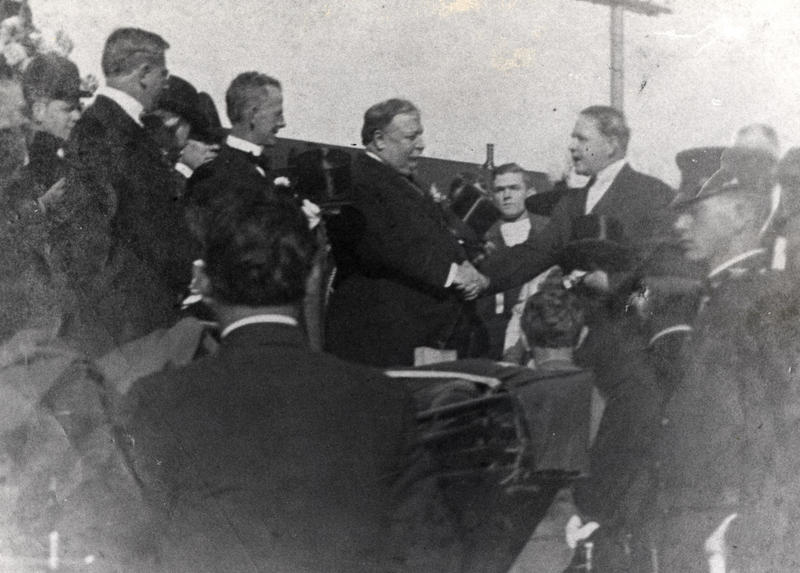 William Howard Taft, center, shakes the hand of Key West's mayor after riding the Overseas Railway to Key West in 1912. He was on his way to Panama, to inspect the work on the canal.