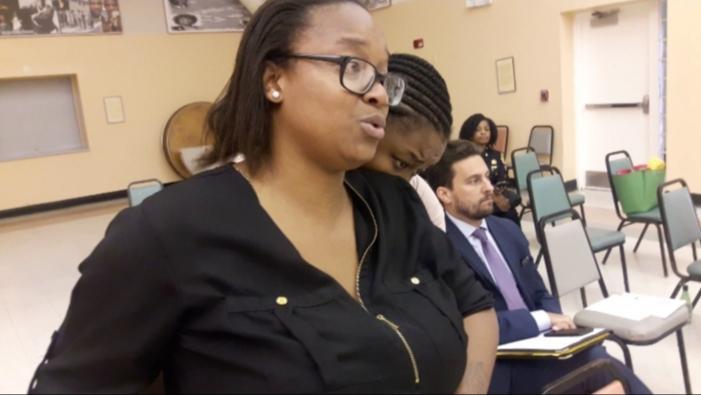 Maritza Valerio, addresses Miami's Community Advisory Board about her brother's violent arrest.