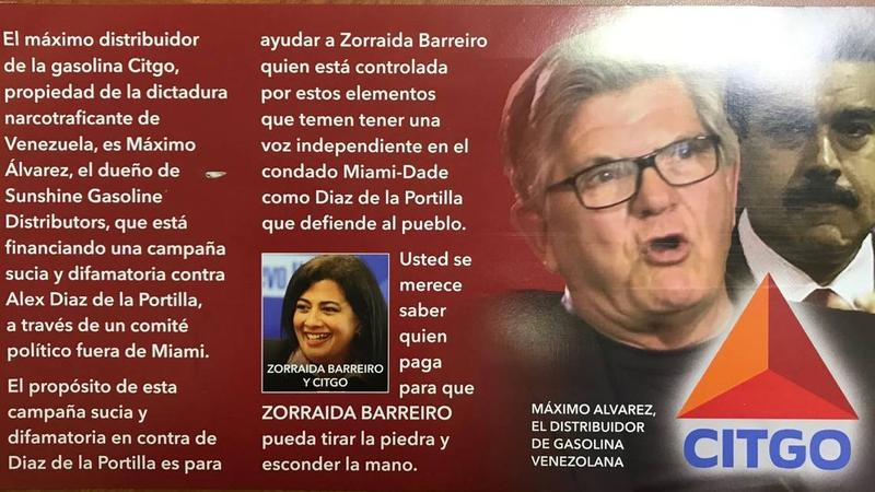 A direct mail piece sent to Miami-Dade District 5 voters by Proven Leadership for Miami-Dade County seeks to tie candidate Zoraida Barreiro to Venezuelan President Nicolás Maduro.