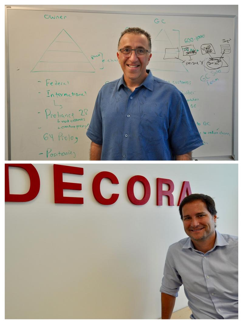 e-Builder CEO Ron Antevy (top) had 70 offers to invest in the company before it was sold in February for $500 million. Rodrigo Griesi moved to Boca Raton from Brazil to open Decora's U.S. office. His company sold for $100 million earlier this year.