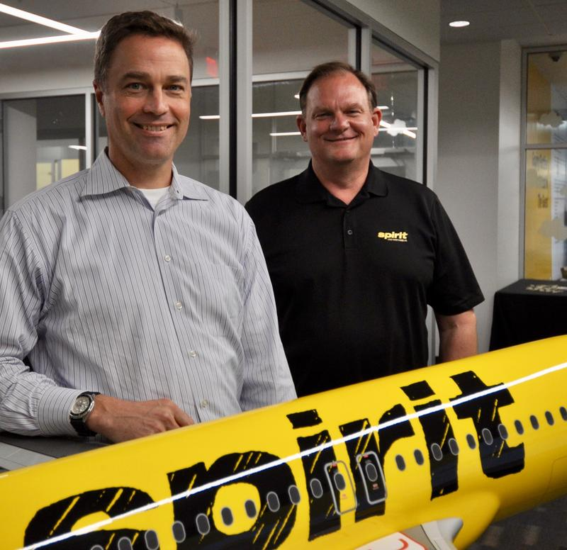 Spirit Airlines President Ted Christie (left) with Chief Operating Officer John Bendoraitis at the company's Miramar headquarters.