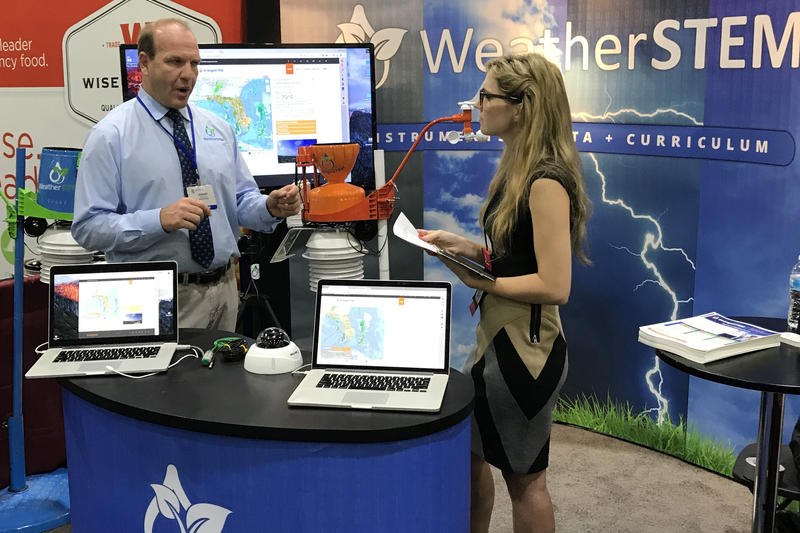 OrangeSTEM Founder and CEO Ed Mansouri demonstrates the technology at the Governor's Hurricane Conference in West Palm Beach on May 16, 2018.