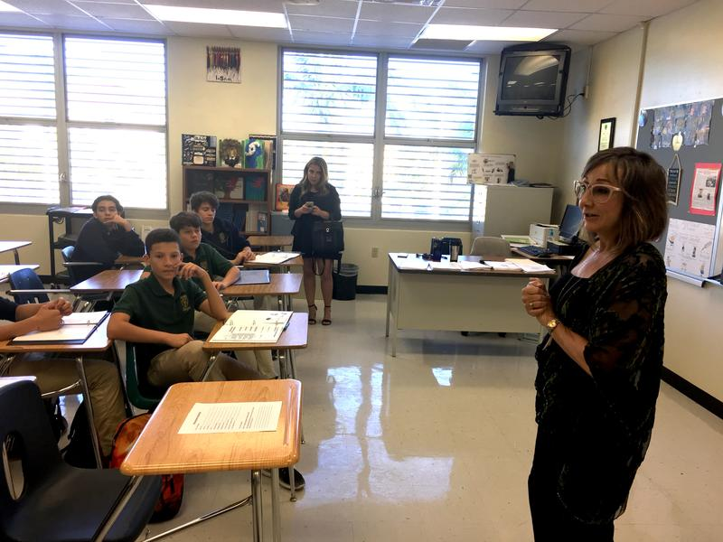 Miami-Dade County School Board Member Susie Castillo introduces herself to a new class of freshmen at the teaching academy she founded in her daughter's memory at a Doral high school. Andrea Castillo died after a car accident in 2012.