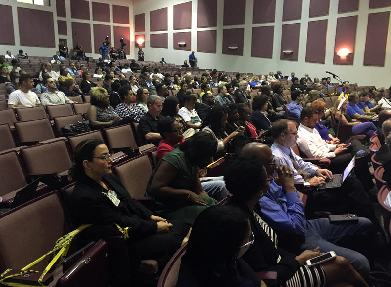 The crowd at Piper High School for the community forum on PROMISE.