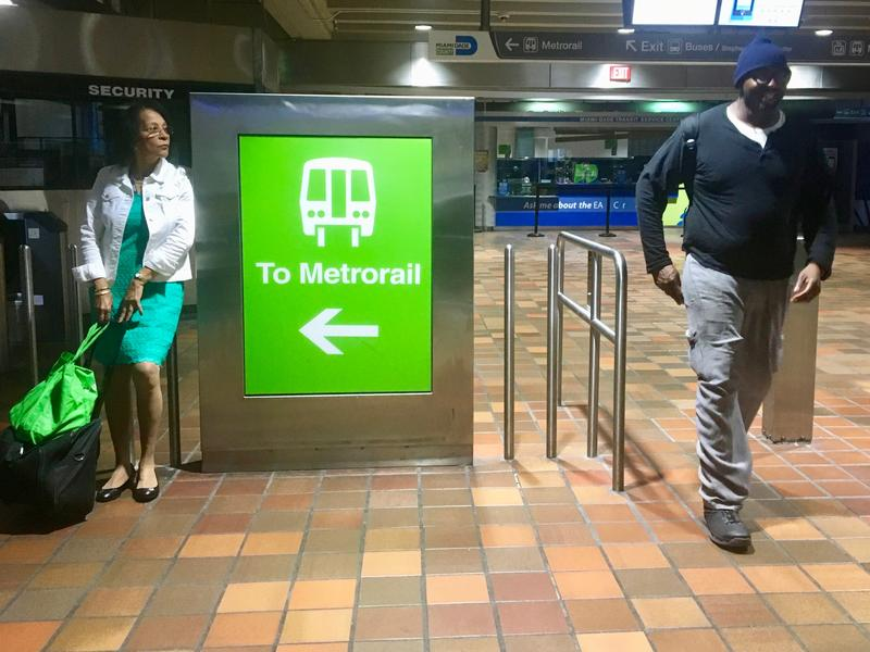 Passengers wait at Government Center in Miami on May 7, 2018. Public transit ridership has been dropping in Miami-Dade and Broward counties for several years in a row.