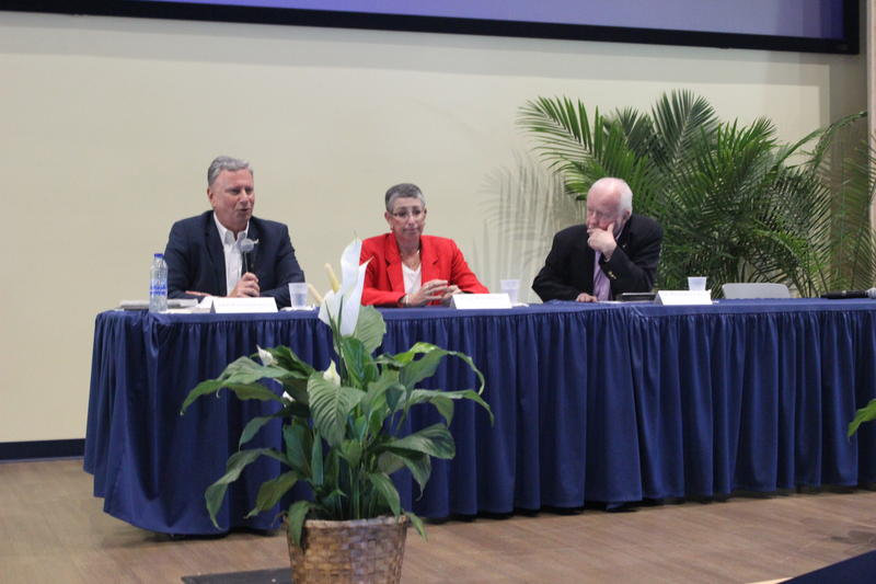 From left to right: Aris Papadopoulos, Julie Rochman and Dr. Rich Olson discuss the independent documentary, Built To Last: Saving Our Homes in the Age of Disasters at Florida International University on Wednesday, May 30, 2018.