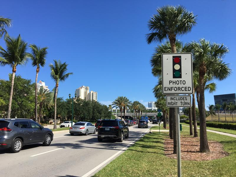 Red light cameras are located throughout Aventura.