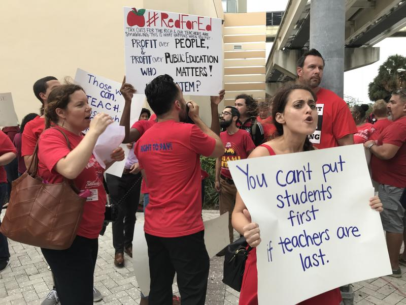 Miami-Dade County teachers protest outside the school board office in downtown Miami earlier this month.