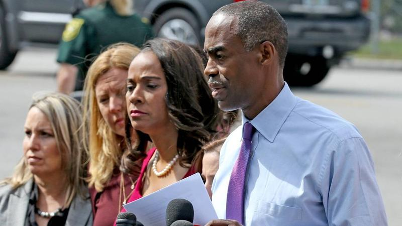 Broward County School Superintendent Robert Runcie talks to reporters at Marjory Stoneman Douglas High School, February 23, 2018, as teachers and staff returned to the school.