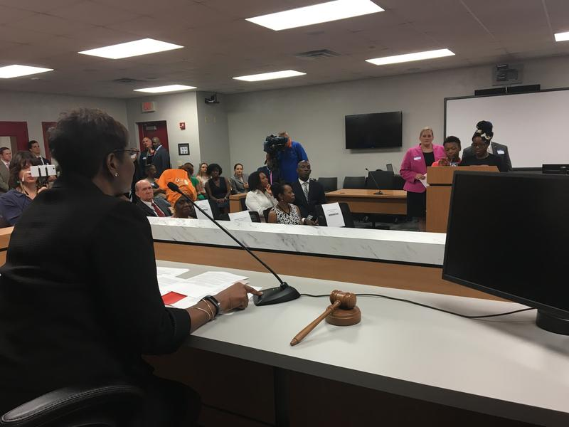 Students present their case to Judge Marcia Cooke.