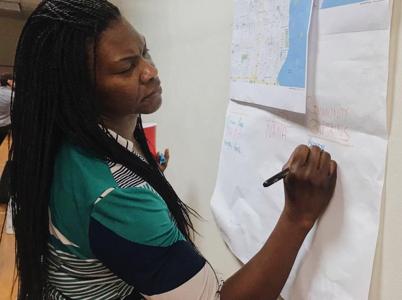LaTonda James adds the name of a potential community captain to a list of possible post-hurricane resources for Miami's Brownsville neighborhood.