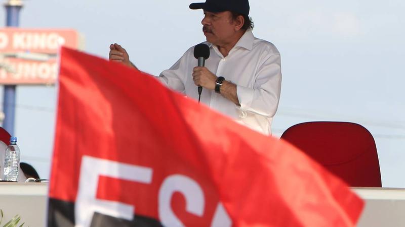 Nicaragua's President Daniel Ortega speaks to supporters at Las Victorias square in Managua, Nicaragua, on Monday, April 30, 2018.