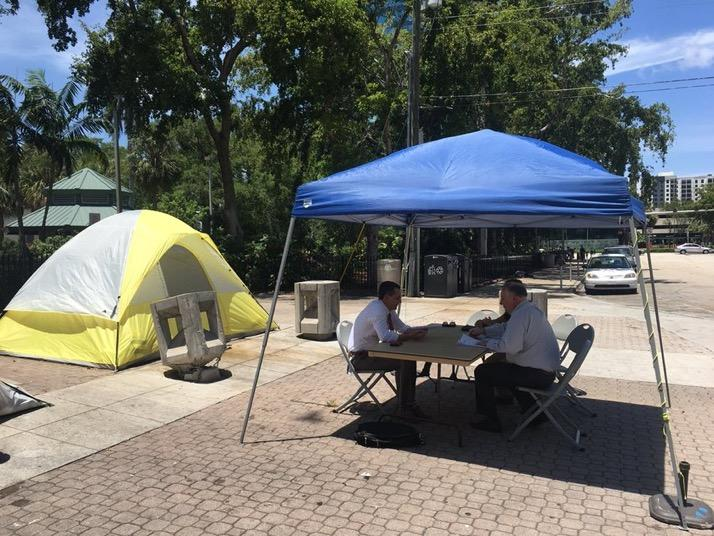 Vice Mayor and city commissioner Ben Sorensen is working from a homeless encampment to bring light to the issue of homelessness