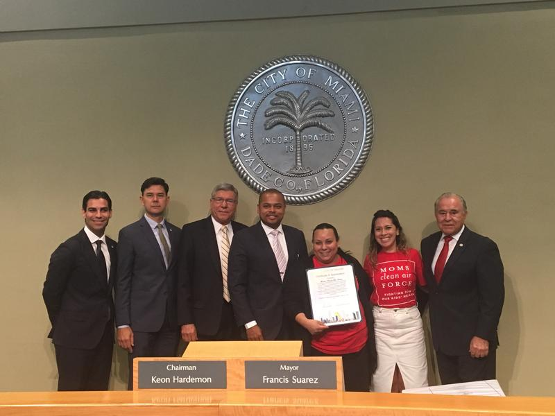 Moms Clean Air Force were awarded a certificate of appreciation by the Miami City Commission.