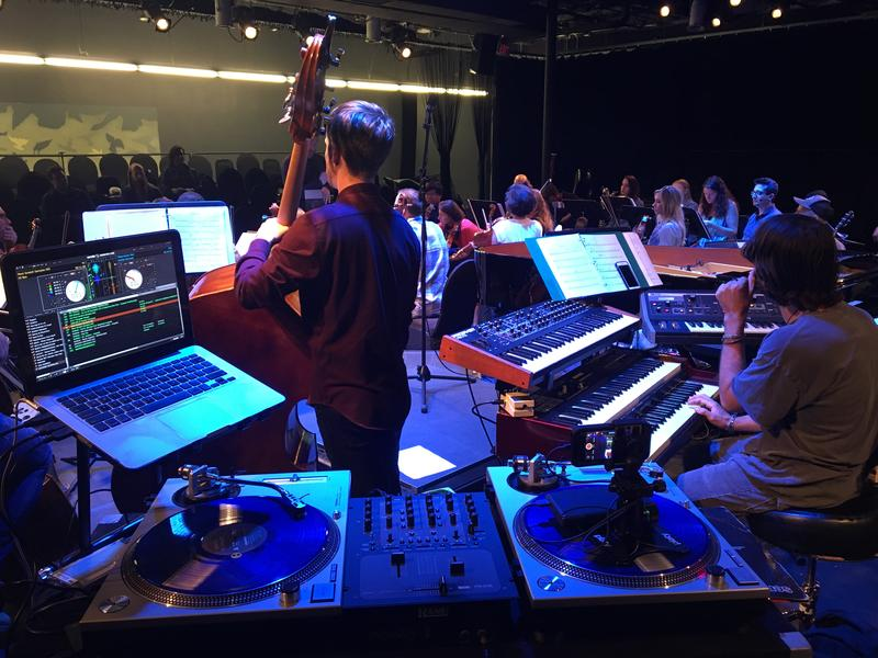 Nu Deco Ensemble features an eclectic array of contemporary instruments, from turntables to analog synthesizers.