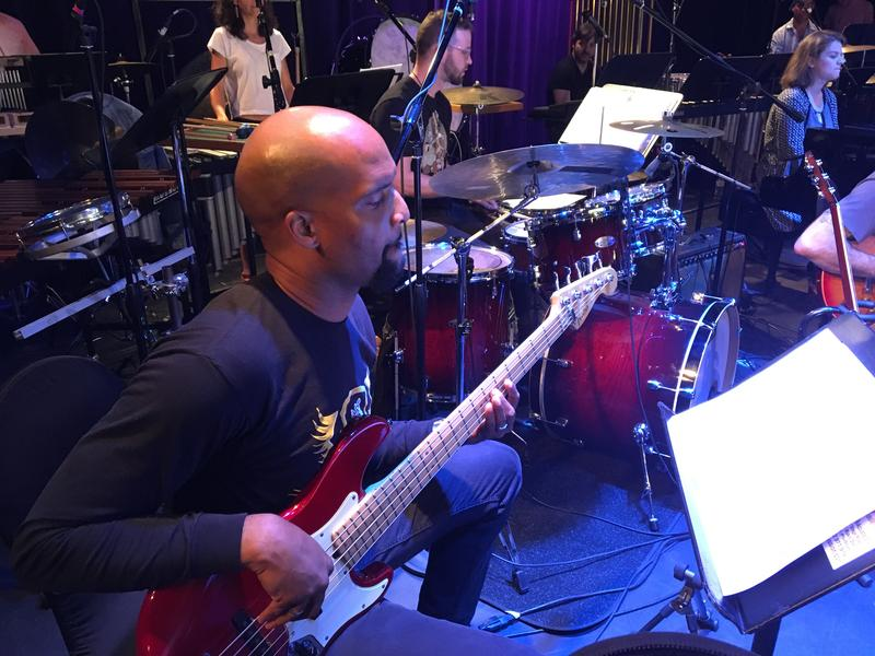 Bassist Dale Posey plays along to the Outkast Suite composed by Sam Hyken.