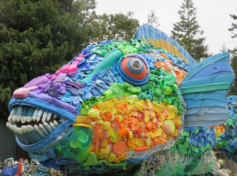 Priscilla the Fish is a 1,600-pound sculpture made entirely from trash found on the beach.
