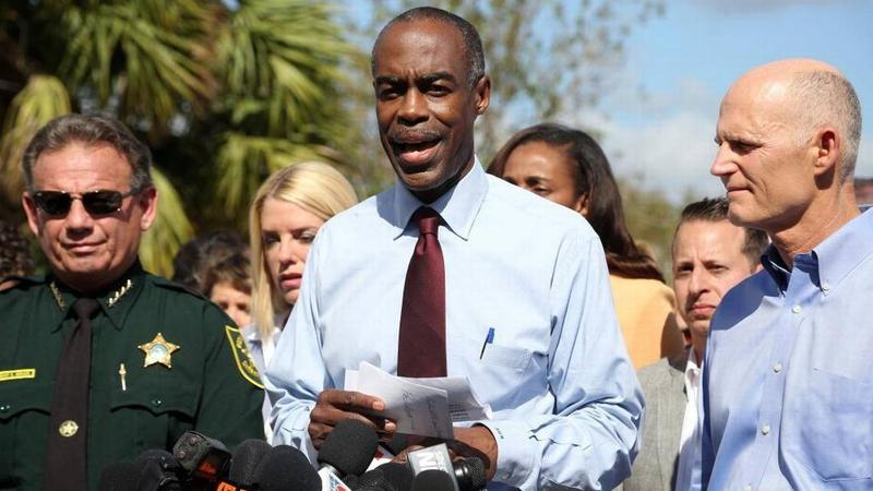 Broward County Schools Superintendent Robert Runcie, center, shown at a news conference after the shooting at Marjory Stoneman Douglas High School with Gov. Rick Scott.