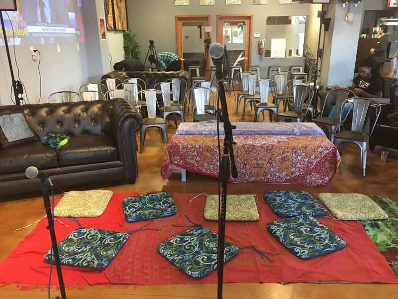 One Sofar show in Fort Lauderdale was held at Café Collective. Carpets and cushions are a staple of Sofar shows.