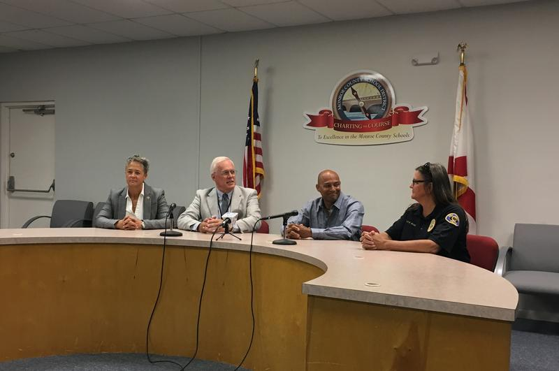 From left, Monroe Sheriff's Office School Safety Director Patty Thompson, Monroe Superintendent Mark Porter, School Text Tips developer Shawne Verne and Key West Police Lt. Kathleen Ream announce the adoption of the text tips program Wednesday in Key West