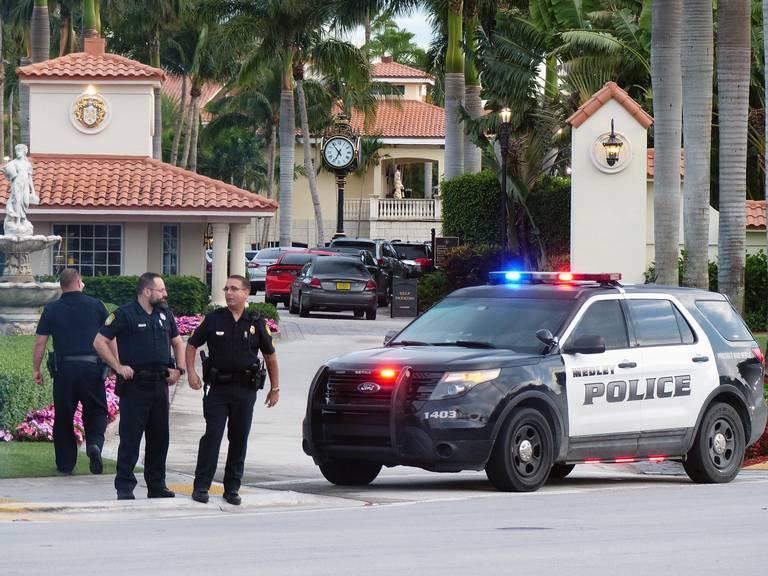 Outside Trump National Doral, where police responded to reports of a shooting around 1:30 a.m. today.