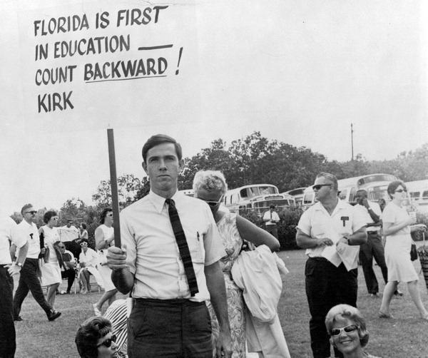 Republican Gov. Claude Kirk promised better schools and no new taxes. Teachers weren't satisfied.