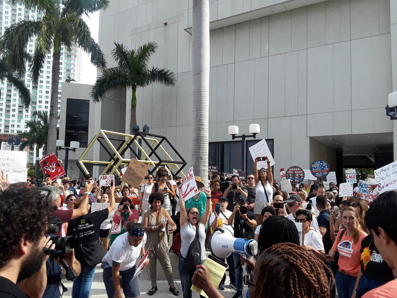 Protestors against the Trump administration's immigration policies marched in downtown Miami on Saturday, June 30, 2018.