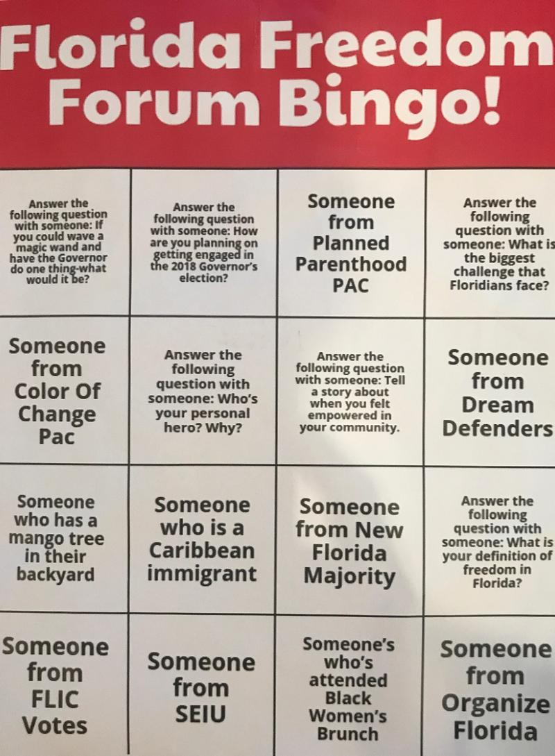 The Color of Change PAC handed out bingo cards at Monday's Democratic primary gubernatorial debate.
