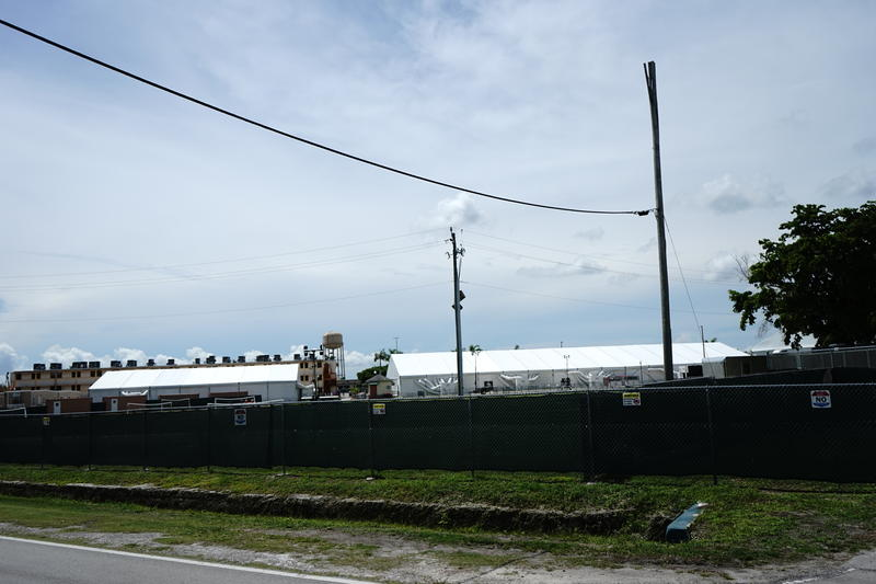 View over the fence at the Homestead Temporary Shelter for Unaccompanied Children