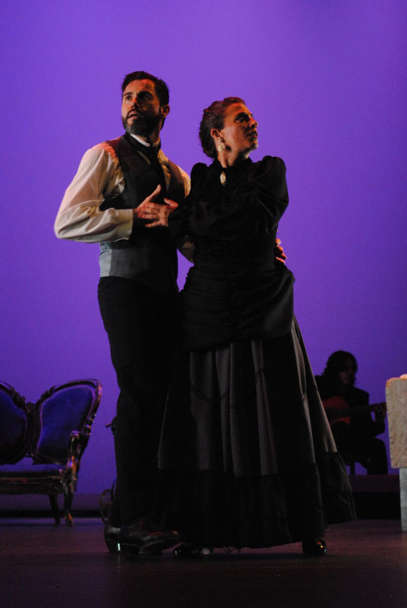 """Eloy Aguilar as John and Raquel Lamadrid as Alma in Ballet Flamenco La Rosa's rendering of Tennessee Williams' """"Summer and Smoke"""""""