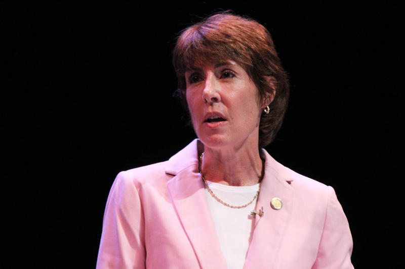 Former U.S. Representative Gwen Graham responds to audience questions during the Democratic primary gubernatorial debate in the Miramar Cultural Center on Monday, June 11, 2018.