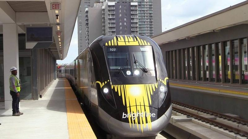A Brightline train arrives at the MiamiCentral station in Overtown.