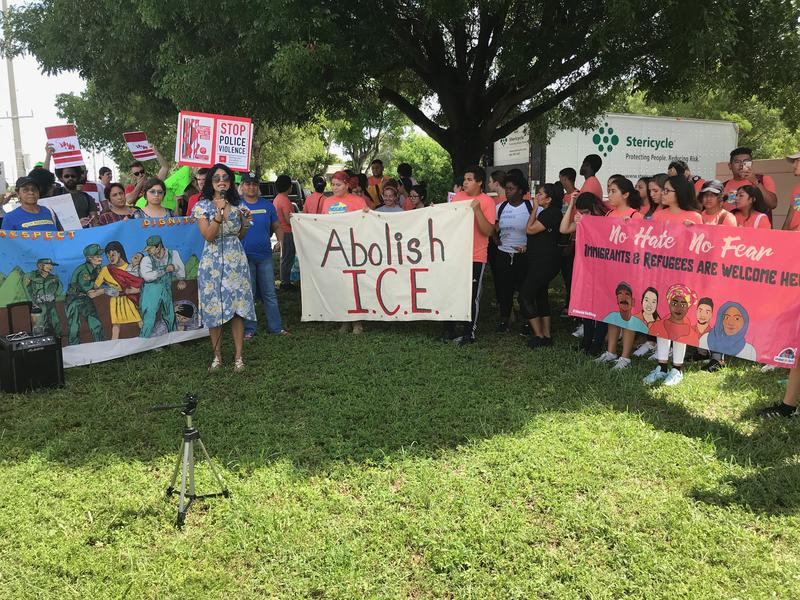 Dozens of activists and undocumented immigrants protested against the federal government's immigration policies on Thursday.